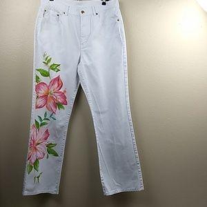 Ralph Lauren Jeans White  Flowered Jeans Size 12